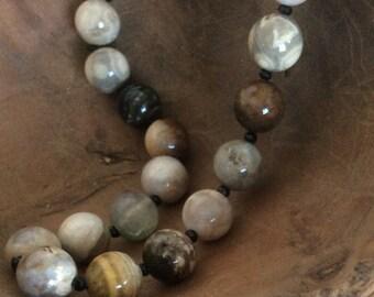 Ocean Jasper and Black Spinel Necklace