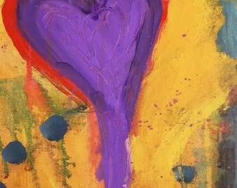 NEW, Purple Heart, painting,  digital, red, teal, pink, colorful wall art, home decor, office, kitchen, bathroom, abstract, colorful art