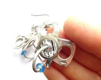 Ring Pull Earrings with Metal Bar, Bar Codes, and Blue Bead, Unusual, OOAK Dangle Earrings