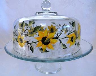 Cake dish, Sunflower cake dish, hand painted cake dish, large cake dish, covered cake dish, pedestal cake dish