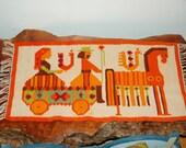 "Vintage ""Droga na targ"" / ""The Way to the Market"" Hand Woven Cepelia Polish Kilim Wool Linen Flax Rug / Tapestry design by Maria Domanska."