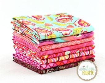 "Eden - Toumaline - Fat Quarter  Bundle - 8 - 18""x21"" Cuts - Tula Pink - Free Spirit Quilt Fabric"