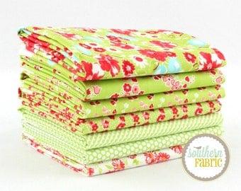 "Little Ruby - Green - Half Yard Bundle - 7 - 18""x44"" Cuts - Bonnie and Camille - Moda Quilt Fabric"