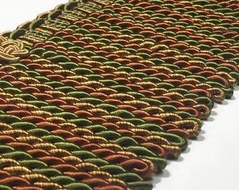 Bullion Fringe - Long Bullion Trim - Red Green Gold Trim - Thick Bullion Fringe - Designer Trim - 1 yard