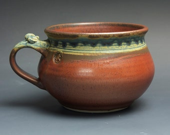 Handmade pottery soup mug ceramic chili mug cereal ice cream bowl iron red 24 plus oz 3704