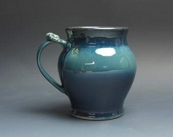 Pottery beer mug, ceramic mug, stoneware stein blue 30 oz 3734