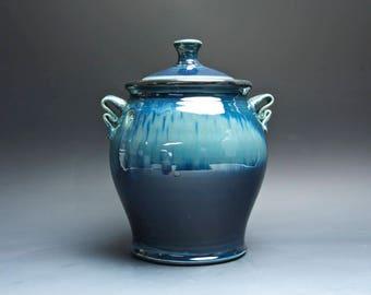 Sale - Handmade extra large pottery cookie kitchen storage jar dark to light blue 4024