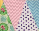 Custom Bunting, Pink, Lavender, Light Blue, Yellow, Lime, Teal
