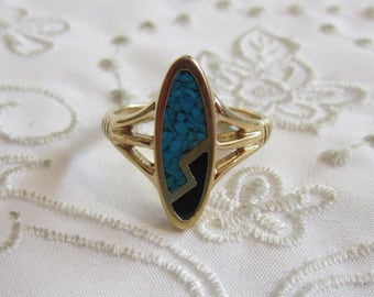 Vintage Gold Turquoise and Black Stone Ring