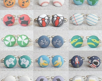 Choose The Design, One Pair of Fabric Button Cufflinks, Designs 71 through 140