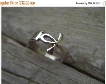 ON SALE Ankh ring in sterling silver