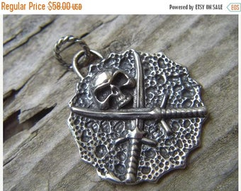 ON SALE Pirates of the caribbean pendant in sterling silver