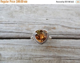 ON SALE Madeira citrine ring handmade in sterling silver
