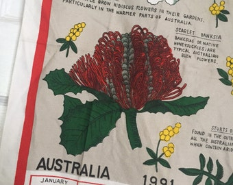 Vintage Calendar Tea Towel, Vintage Flower Calendar, Vintage Flower Tea Towel, Vintage Kitchen Towel, 1991 Calendar, Vintage Australia Towel