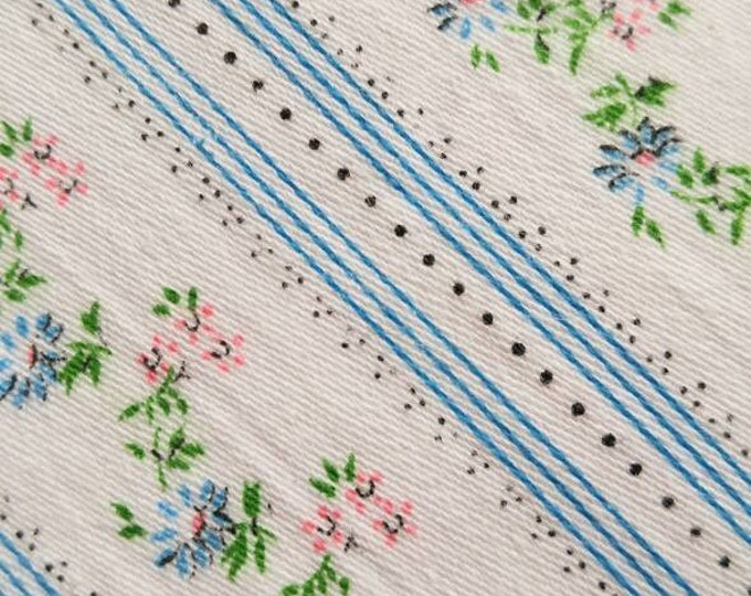 Heavy Pillow Ticking Fabric - 1890's - 1900 Striped Tiny Floral Cotton - NOS
