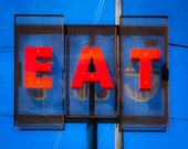 Custom Large Print, 24 x 30 , Eat, Restaurant Sign, Retro Diner, Orange, Blue, 16x20 Print, Vintage Sign, Kitchen Decor, Large Wall Art