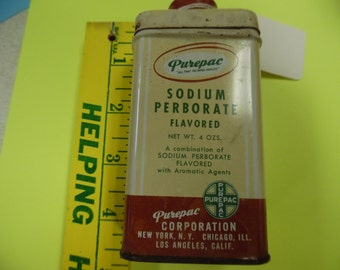 Vintage medical tin, Purepac tin, drug store tin, vintage tin, old tin,