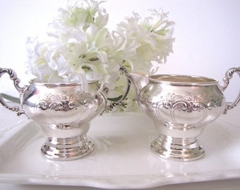 Vintage Silver Plate Cream and Sugar Gorham Chantilly Pattern Holiday Wedding Entertaining from AllieEtCie