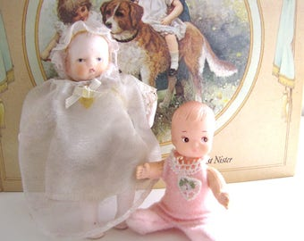 Antique Miniature Baby Doll German Bisque and Plastic Baby Doll Set from AllieEtCie