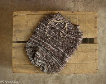 Newborn Sack, Brown Knit Cocoon, Newborn Props, Baby Boy Wrap, RTS,  Wrap, Knit Cocoon, Hand Knit Wrap, Baby Boy Props