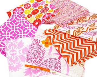 Bundle of 7 Prints in Oranges and Pinks form Moda Designer Collections Prints , by Moda