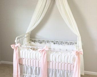 Vintage White and Baby Pink Washed Linen Crib Bedding-Ruffled Bumpers-Ruffled Crib Skirt-Crib Sheet-Pale Pink Velvet Ribbon Trim Detail