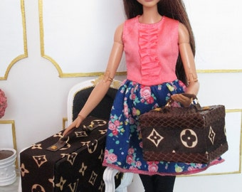 BROWN MONOGRAM LUGGAGE for Silkstone Barbie, Blythe, Fashion Royalty - Faux - Replica - Fake- Louis Vuitton