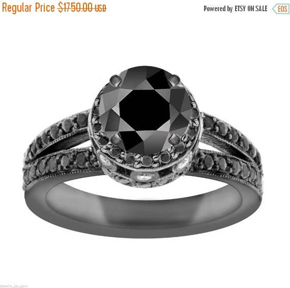 ON SALE 2.00 Carat Black Diamond Engagement Ring 14K Black Gold Vintage Style Certified Pave Set handmade