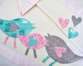 Personalized Organic Baby Blanket with Retro Birds for Baby Girl -- Pink, Gray and Mint