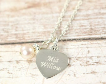 Flower Girl Gift , Engraved Flower Girl Name Necklace,  Personalized Jewelry 925 Sterling Silver