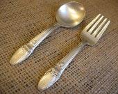 Vintage Silverware PERSONALIZED Child's Fork & Spoon Keepsake First Love Pattern