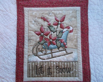 Let It Snow Quilted  Wall Hanging