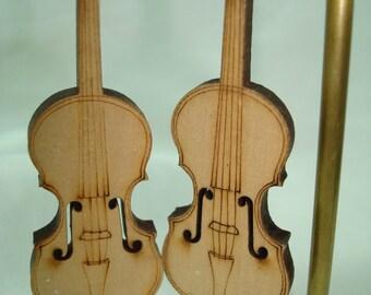 Miniature Wooden Pierced Violin Cello Earrings.