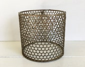 Vintage Small Brass Lampshade, Perforated Metal, Single Shade, Honeycomb