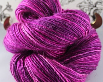 "Handspun Yarn Gently Thick and Thin Sport Single Huacaya Alpaca Merino and Silk ""Plum Crazy"""