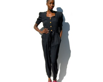 Black shortsleeve tapered pantsuit with gold buttons 1990s 90s VINTAGE