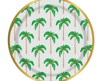 Palm Tree paper plate Gold Foil accents 7 inches set of 8