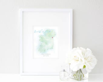 Ireland Watercolor Map | Destination Map Print | Personalized Watercolor Map | Honeymoon Map | Anniversary Map | Watercolor Wedding Map