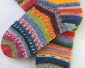 hand knitted womens wool socks, UK 4-6 US 6-8, crazy socks, rainbow socks, leftover yarn socks, mismatched socks, fun socks, multicolored