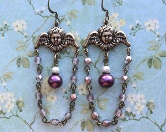 Angel Earrings - Angel Jewelry - Cherub Earrings - Victorian Earrings - Victorian Jewelry - Romantic Earrings - Guardian Angel - Angel Gifts