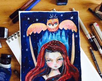 "Awakening - owl and girl, mixed media painting, mystic art, owl illustration,whimsical art, mixed media art, night sky, 8x11"""