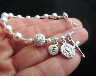 Communion Personalized Rosary Bracelet with White Swarovski Pearls, Crystals and Radiant Rhinestone Bead with Sterling Monogram