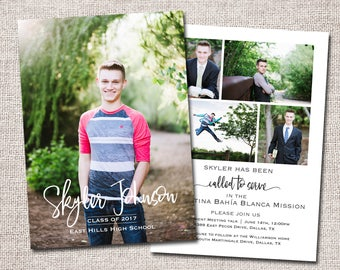 Graduation Announcement, LDS Missionary Farewell, Graduation Invitation, Photo, Missionary/Graduation: PRINTABLE (Missionary/Grad combo)