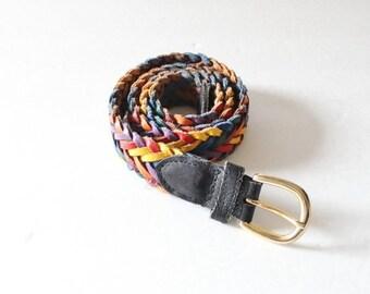 sale // Vintage 80s Rainbow Black Woven Split Leather Belt - Women Small