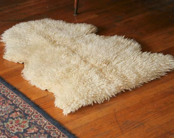 Vintage Real Authentic Sheepskin Throw Rug