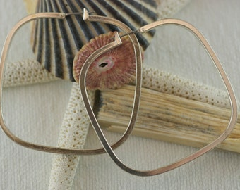 Vintage Sterling Silver Large Square Clamp Bar Pierced Earring Modernist Hoops   .....6269