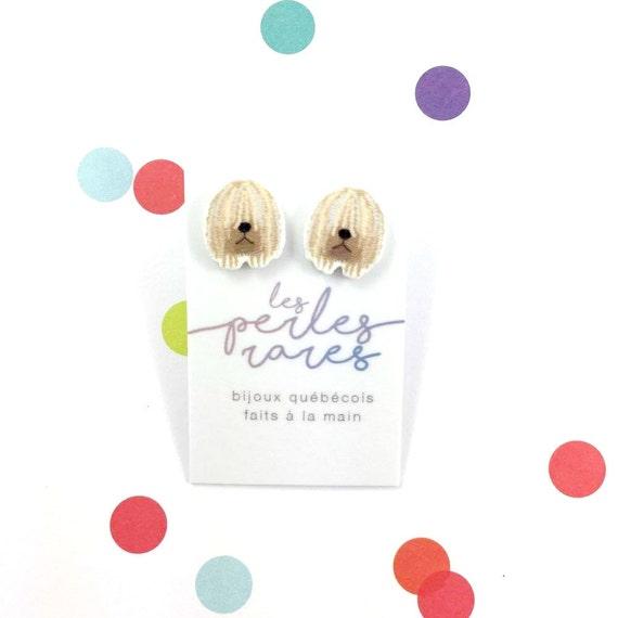 komondor, dog, face komondor, earring, komondor earring, white, dog, hypoallergenic, plastic, stainless stud, handmade, les perles rares