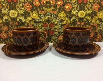 Vintage Retro 1977 Hornsea Pottery Heirloom Cup & Saucers Set of 2 Mid Century 1970s
