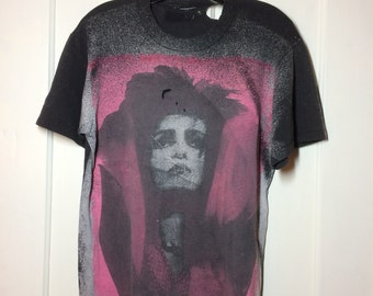 Destroyed 1980's Siouxsie and the Banshees the Creatures Black pink all over print T-shirt looks size Medium 19x26.5 Punk Goth