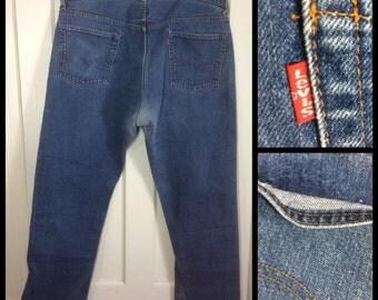 Vintage faded Indigo Blue denim 501 Levi's Jeans 42x30, measures 41x30 single stitch number 5 button Talon Zipper black bar Boyfriend #266